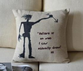 Basquiat Print Decorative Pillow C