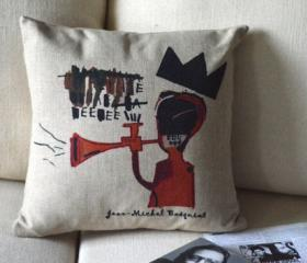 Basquiat Print Decorative Pillow D