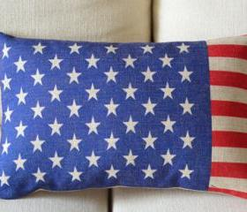 US Flag Print Decorative Pillow