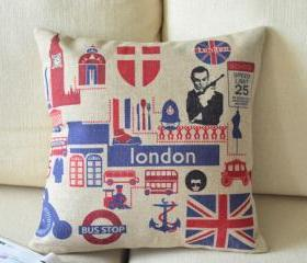 London Fun Print Decorative Pillow