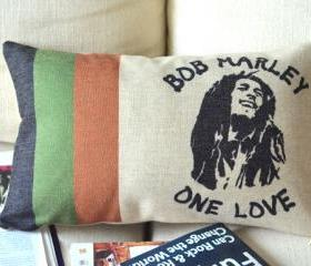 Bob Marley Print Decorative Pillow