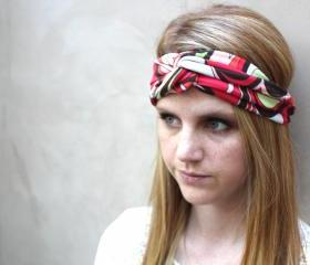 Headband, Knotted Headband, Mod, Coral, Brown, Orange, White, Green 