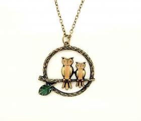 Owls on Branch Necklace