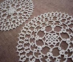 Pebbles - A Pair of Small Tatted Lace Doilies