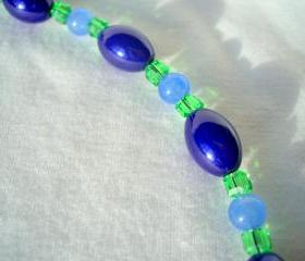 Blue Swarovski Necklace Apple Green Royal Sky Blue Stone