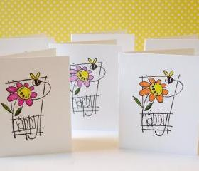 Handmade mini note cards bee happy set of 8 hand colored mini cards lunchbox notes