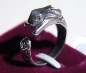 925 Sterling Silver Rabbit Bunny Adjustable Ring