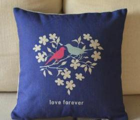 Love Birds Print Decorative Pillow