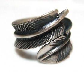 Adjustable Leaf Feather 925 Sterling Silver Ring