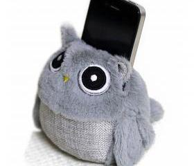 Gray Owl Phone Holder