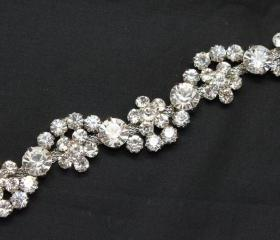 bridal costume applique rhinestone crystal silver chain headdress trimming 1 yd