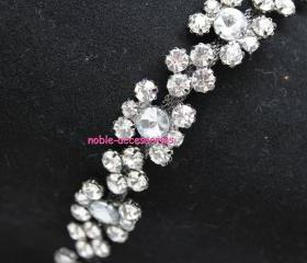 fashion bridal costume applique diamante rhinestone crystal silver chain trim 1 yard