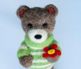 Teddy Bear needle felted magnet in striped sweater with red flower