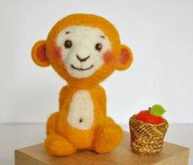 Monkey yellow needle felted with basket and apple