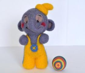 Needle felted elephant, circus, gift, cute, toy