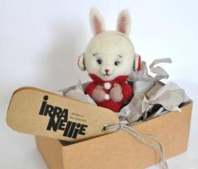 Needle felted bunny, cute, toy, gift, winter