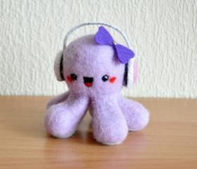 Kawaii octopus lavender color with pink earphones and violet bow