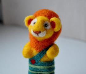 Lion needle felted in green striped shorts