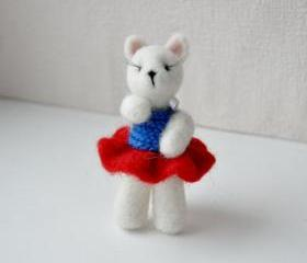 Dog white needle felted with red skirt lashes circus
