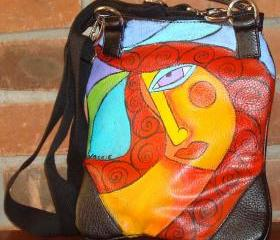 Hand Painted Handbag Purse Shoulder Bag Funky Abstract Portrait of a Woman