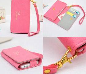 Nice Pink Multi-function Soft Wallet with Phone and Card Pocket