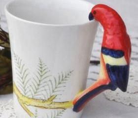 Cute Handpainted Parrot Ceramic Cup