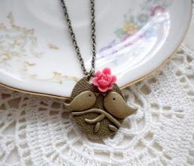Kissing Couple Pendant - Bird Necklace - Pink Flower Necklace