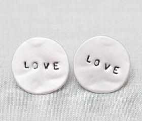 LOVE Word Circle Stud Earrings in silver