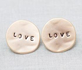 LOVE Word Circle Stud Earrings in gold