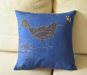 Blue Bird Print Decorative Pillow
