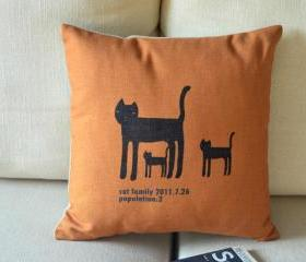 The Cat Family Print Decorative Pillow