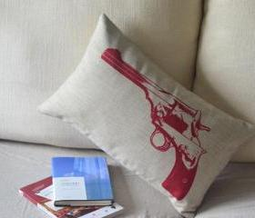 Handgun Print Decorative Pillow