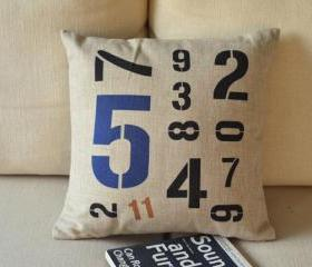 Combination Of Numbers Print Decorative Pillow