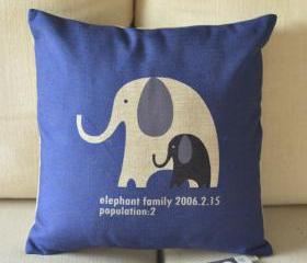 Elephant Family Print Decorative Pillow