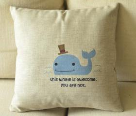 Whale Print Decorative Pillow