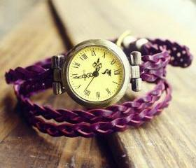 Retro Vintage Purple Woven Bracelet Watch