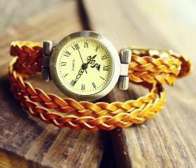 Retro Vintage Woven Yellow Bracelet Watch