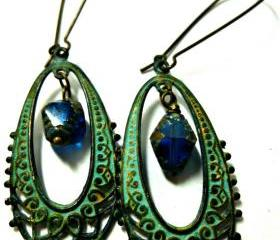 Bohemian earrings in Green Verdigris Patina with blue biocone Czech engraved Firepolished Czech Glass Beads. Ear wire choice.