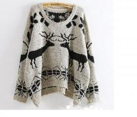 Deer Patterned Knitted Sweater