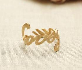 LOVE YOU word ring in gold