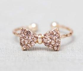 Lovely and cute Gold Rhinestone bow little finger Ring