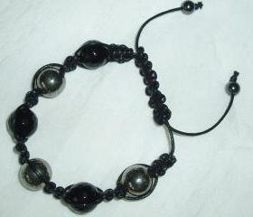 Black Onyx / Pyrite Unisex Gemstone Bracelet