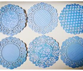 Parisian Lace Doily Blue Berry for Scrap booking or card making / pack 