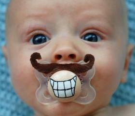 Mini Mario- Hand Cut Custom Mustache Pacifier- Brown
