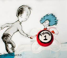 NEW- Thing 1- Hand Painted Custom Pacifier in MAM or Avent 