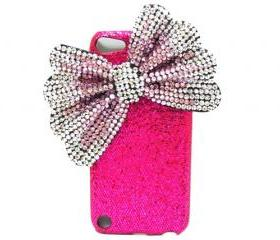 iPod Touch 5 Case, Pink Silver Bow iPod Touch 5 Case, Dark Pink iPod Touch 5th Case, Crystal Bling iPod Touch 5 case, iPod Touch 5 gen case PS