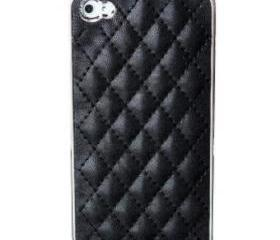 Black Manmade Leather Check Design Case Cover for iPhone 4 4S