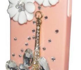 Rhinestone Flower Eiffel Tower Case Cover for iPhone 4 4S
