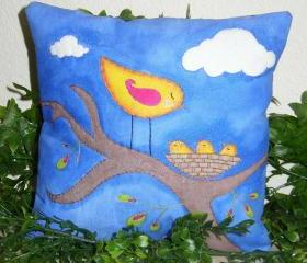 Hand Painted and Embroidered Art Pillow Triplets