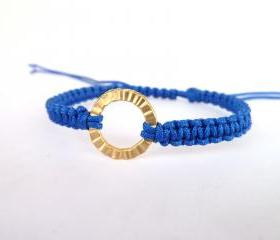 Blue Macrame Bracelet , Handmade blue macrame bracelet with gold plated round hammered connector